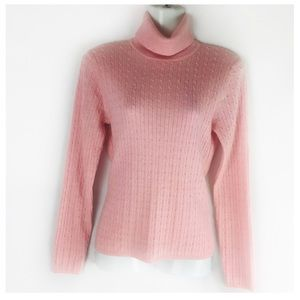 BROOKS BROTHERS | sweater turtleneck pink cable S